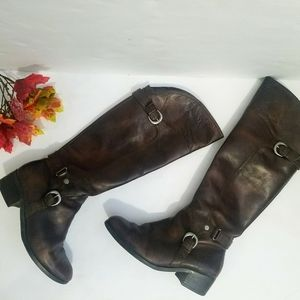 Audrey Brooke Leather Riding Boots Brown Sz 7.5